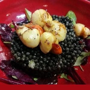 Pétoncles et faux caviar