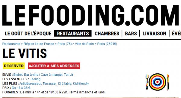 Le Fooding au Vitis